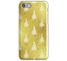 Christmas Tree Gold White Faux Foil Trees iPhone Case/Skin