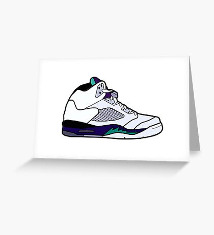 Jordan 5 Retro Grape Shoes Greeting Card