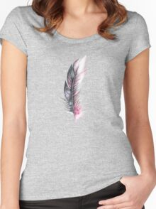 Watercolor Feather Art Women's Fitted Scoop T-Shirt