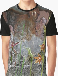 Rusty Spider & Orchids with Rusty Tin, native orchids of Australia. Graphic T-Shirt