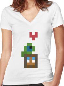 Pixel Best Friends Women's Fitted V-Neck T-Shirt