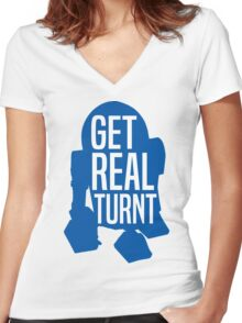 R2D2 - Get Real Turnt Women's Fitted V-Neck T-Shirt