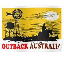 Outback Australia stockman and windmill design Poster
