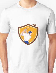 Golfer Swinging Club Crest Cartoon T-Shirt