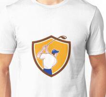 Golfer Swinging Club Crest Cartoon Unisex T-Shirt