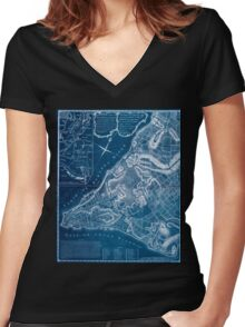 American Revolutionary War Era Maps 1750-1786 226 A plan of the city of New York & its environs to Greenwich on the North or Hudsons River and to Crown Point Inverted Women's Fitted V-Neck T-Shirt