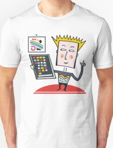 Computer nerd holding tablet cartoon design Unisex T-Shirt