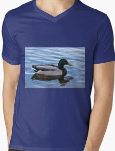 Male Mallard Duck Floating Peacefully  Mens V-Neck T-Shirt