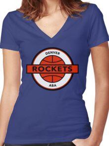 DEFUNCT - DENVER ROCKETS Women's Fitted V-Neck T-Shirt