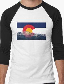 Pikes Peak Colorado Flag Men's Baseball ¾ T-Shirt