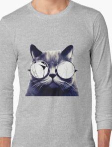 Vintage Cat Wearing Glasses Long Sleeve T-Shirt