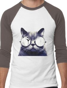 Vintage Cat Wearing Glasses Men's Baseball ¾ T-Shirt