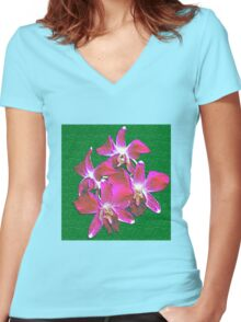 Artistic Orchid Women's Fitted V-Neck T-Shirt