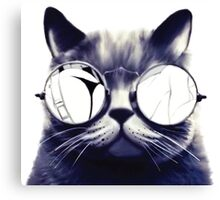 Vintage Cat Wearing Glasses Canvas Print