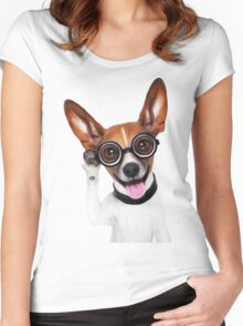 Dog Wearing Glasses 1 Women's Fitted Scoop T-Shirt