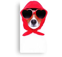 Dog Wearing Heart Red Glasses & Red Veil Canvas Print