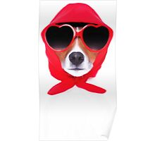 Dog Wearing Heart Red Glasses & Red Veil Poster