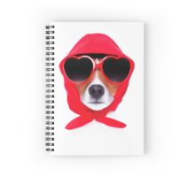 Dog Wearing Heart Red Glasses & Red Veil Spiral Notebook