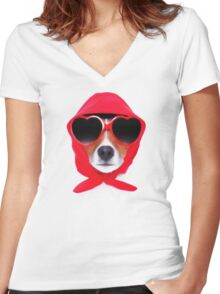 Dog Wearing Heart Red Glasses & Red Veil Women's Fitted V-Neck T-Shirt