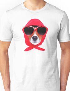 Dog Wearing Heart Red Glasses & Red Veil Unisex T-Shirt
