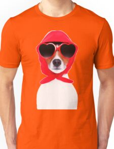 Dog Wearing Heart Red Glasses & Red Veil Unisex T-Shirt
