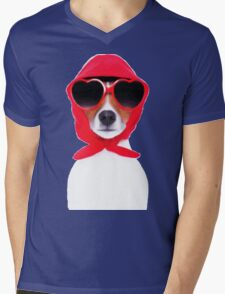 Dog Wearing Heart Red Glasses & Red Veil Mens V-Neck T-Shirt