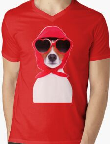 Dog Wearing Heart Red Glasses & Red Veil Mens V-Neck T-Shirt