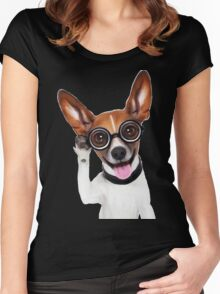 Dog Wearing Glasses 2 Women's Fitted Scoop T-Shirt