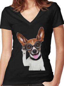 Dog Wearing Glasses 2 Women's Fitted V-Neck T-Shirt