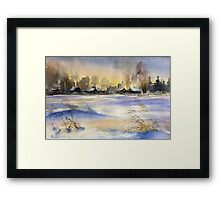 Winter Evening in the Village Framed Print