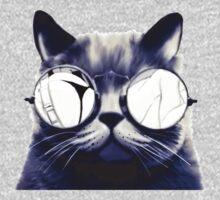 Vintage Cat Wearing Glasses Kids Tee