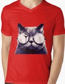 Vintage Cat Wearing Glasses Mens V-Neck T-Shirt