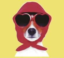 Dog Wearing Heart Red Glasses & Red Veil Baby Tee