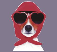 Dog Wearing Heart Red Glasses & Red Veil Kids Tee