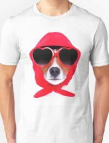 Dog Wearing Heart Red Glasses & Red Veil T-Shirt