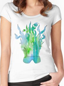 Psychedelic underwater snorkelling mask landscape Women's Fitted Scoop T-Shirt