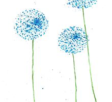 Blue flowers watercolor by Monika Howarth