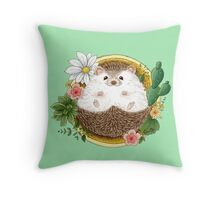 Hedgehog with cactus Throw Pillow