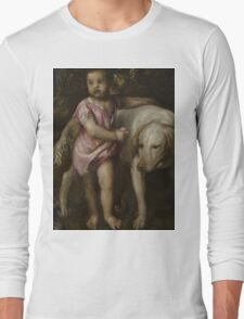 Tiziano Vecellio, Titian - Boy with Dogs in a Landscape Long Sleeve T-Shirt