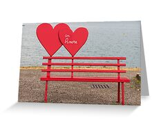 bench and heart love Greeting Card
