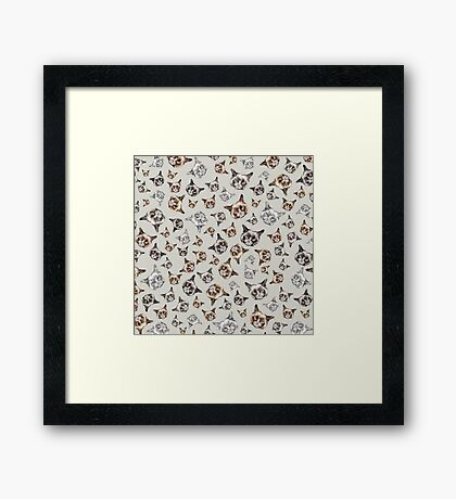 Cats in Grey Framed Print