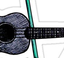 Ukulele and drumsticks Sticker