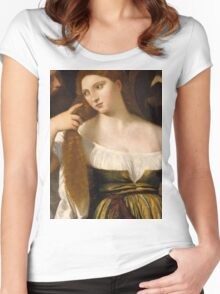 Tiziano Vecellio, Titian - Girl Before the Mirror Women's Fitted Scoop T-Shirt