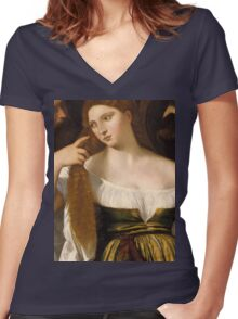 Tiziano Vecellio, Titian - Girl Before the Mirror Women's Fitted V-Neck T-Shirt