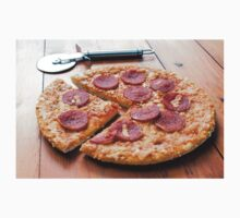 Pepperoni Pizza on a Wooden Board Kids Tee