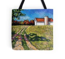 Country Lane with Barn and Silo: Color Pencil Art, Summer Tote Bag