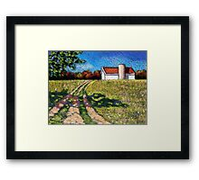 Country Lane with Barn and Silo: Color Pencil Art, Summer Framed Print