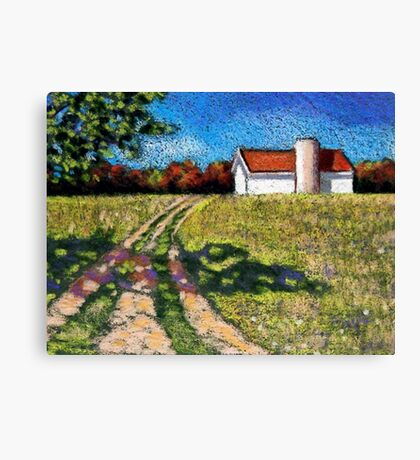 Country Lane with Barn and Silo: Color Pencil Art, Summer Canvas Print