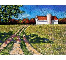 Country Lane with Barn and Silo: Color Pencil Art, Summer Photographic Print