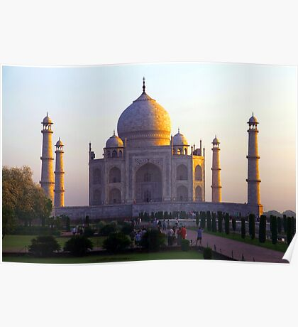 The Taj Mahal catches the sun at sunrise Poster